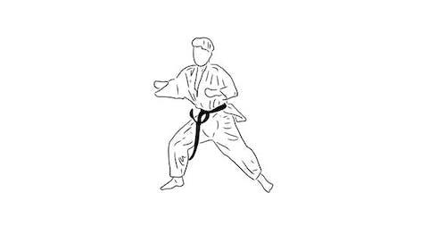 Le karaté dessiné à la main se déplace 01
