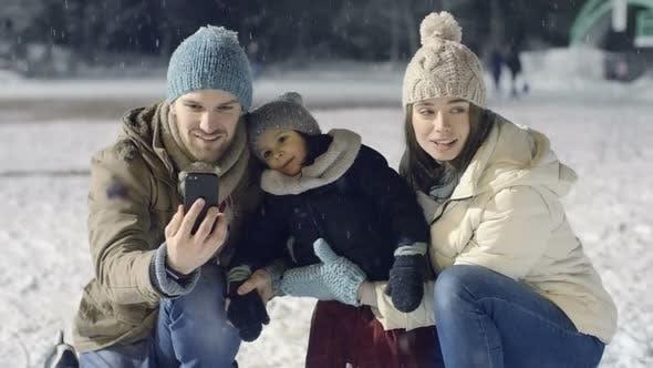 Thumbnail for Family Selfies at Skating Rink