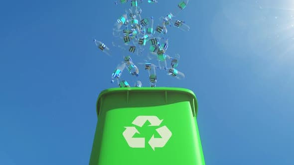 Cover Image for Chock-full Garbage Container Opens and Plastic Bottles Fall Out From the Bin