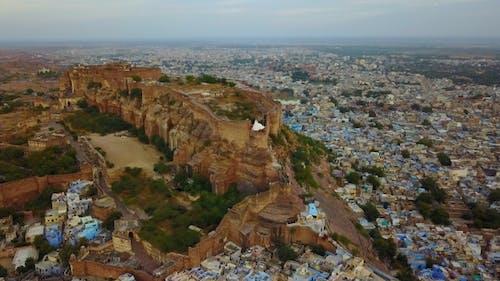 Mehrangarh Fort with Jodhpur city scape. A UNESCO World