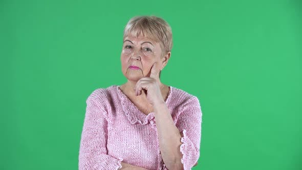 Thumbnail for Portrait Elderly Woman Thinking with Concentration Upset No Idea