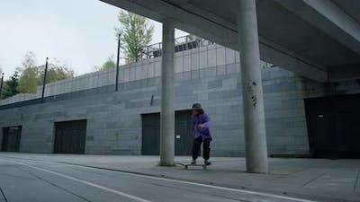 Cool Skater Making Trick on Skateboard Outside