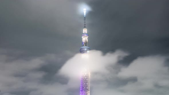 Thumbnail for Time-lapse of Tokyo Skytree advertising light show count down to Tokyo Summer Olympic 2020