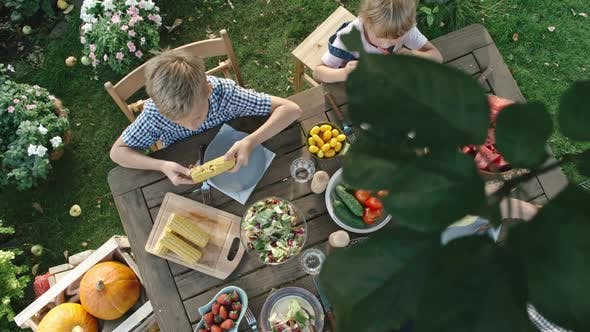 Thumbnail for Vegan Family Eating Fruit and Vegetables in Garden