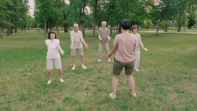 Group of Old People Practicing Tai Chi Chuan