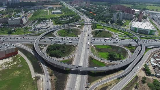 Thumbnail for Cloverleaf Intersection with Circular Overpass, Aerial View