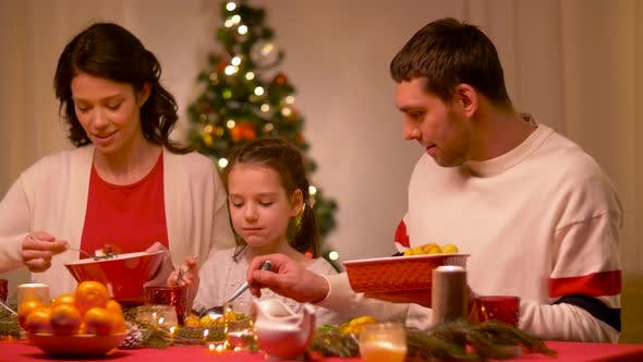 Thumbnail for Happy Family Having Christmas Dinner at Home