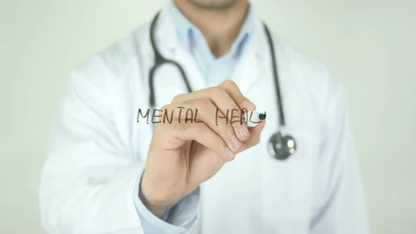 Mental Health, Doctor Writing on Transparent Screen