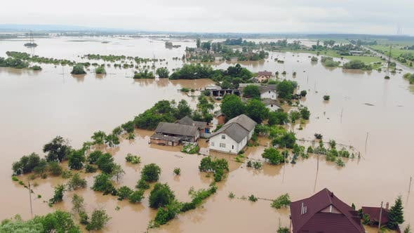 Thumbnail for Aerial View Floods and Flooded Houses. Mass Natural Disasters and Destruction. A Big City Is Flooded