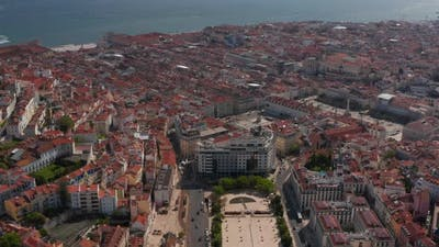 Aerial View of Historic City Center with Squares