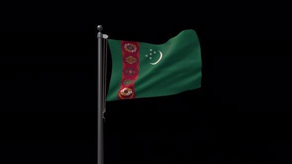 Turkmenistan Flag On Flagpole With Alpha Channel  4K