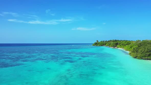 Thumbnail for Beautiful overhead abstract shot of a white sand paradise beach and blue water background