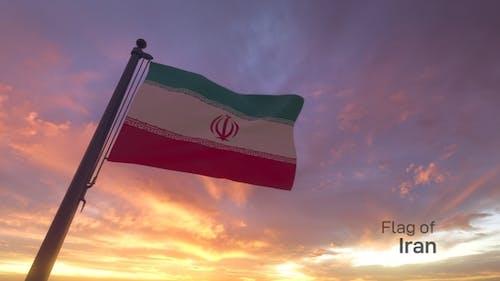 Iran Flag on a Flagpole V3