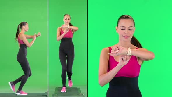 Thumbnail for Healthy Sporty Young Woman Running and Looking at Smart Watch Device on a Green Screen Chroma Key