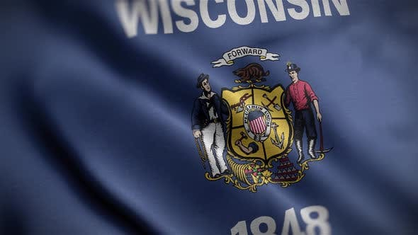 Wisconsin State Flag Close Up HD