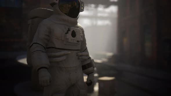 Thumbnail for Lost Astronaut Near Abandoned Industrial Buildings of Old Factory