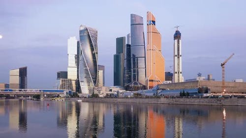 Morning Timelapse of Moscow City Business Center