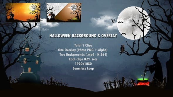 Thumbnail for Halloween Backgrounds and Overlay