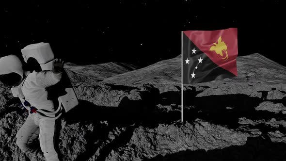 Astronaut Planting Papua New Guinea Flag on the Moon