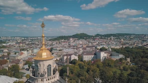 Thumbnail for Aerial View of St, Jura St, George's Cathedral Church in Town Lviv, Ukraine
