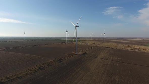 Rotating Turbines of a Wind Farm. Renewable Energy. Aerial