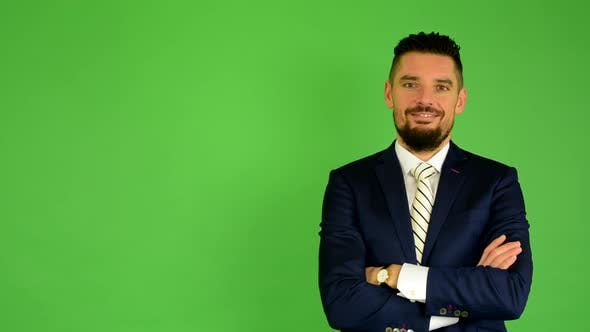 Thumbnail for Business Man Smiles, Green Screen, Studio