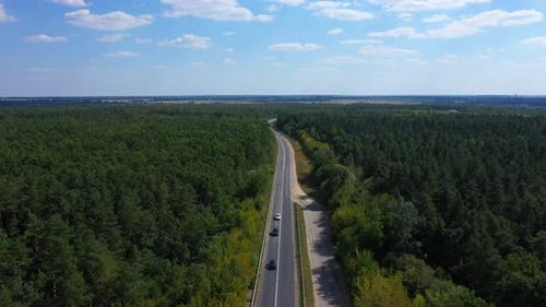 Aerial View Highway Near Forest