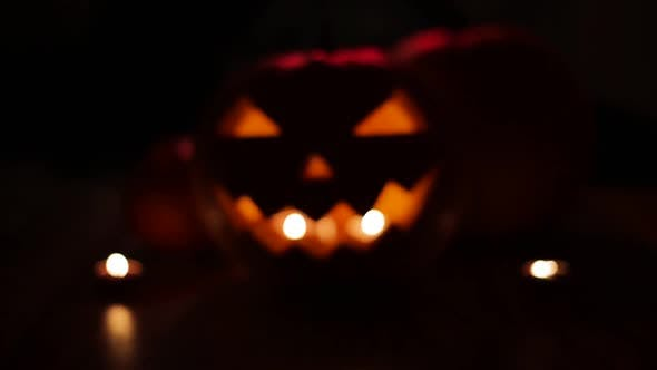 Thumbnail for Halloween Jack-o-lantern Burning in Darkness 36