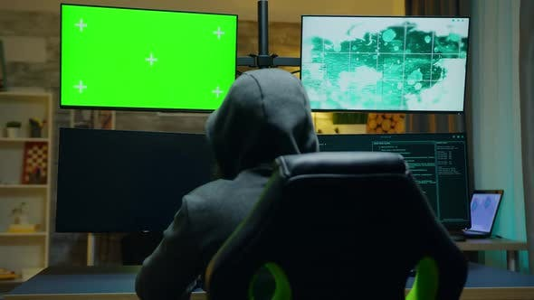 Back View of Hacker Wearing a Hoodie Using Computer