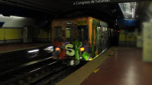 Subway Train Arriving To Station