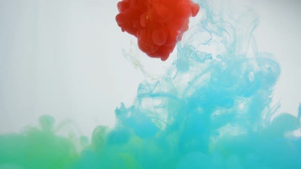 Thumbnail for Green, Blue and Red Color Paints Swirling Underwater in Mesmerizing Vibrant Swirl