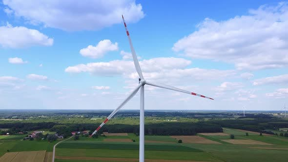 Drone Aerial View of Big Windmills