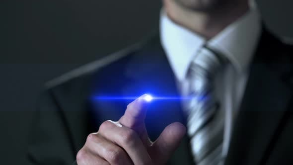 Cover Image for Risk Evaluation, Man Wearing Business Suit Touching Screen, Analytical Research