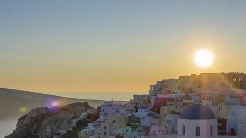 Sunset Over the Rooftops of Oia on the Island of Thira
