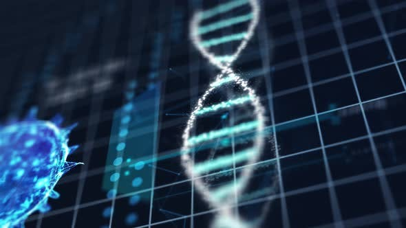Thumbnail for Medical tech spiral DNA Chromosome laboratory and virus analysis on blue grid background