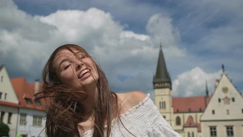 Happy Summer Vacation of Young Woman in Europe