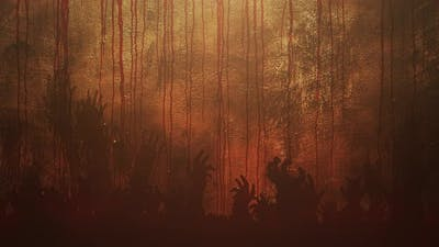 Mystical horror background with dark blood and hands