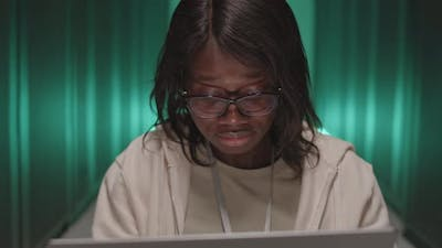 African American Woman in Data Center