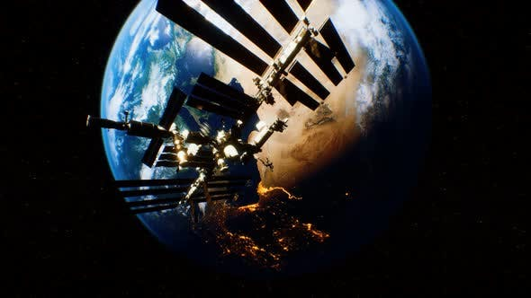 International Space Station in Outer Space Over the Planet Earth Orbit