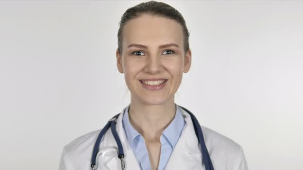Thumbnail for Portrait of Smiling Lady Doctor on White Background