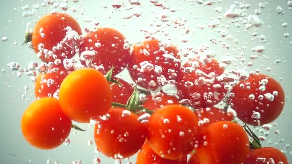 Thumbnail for The Falling Cherry Tomatoes in Water 12