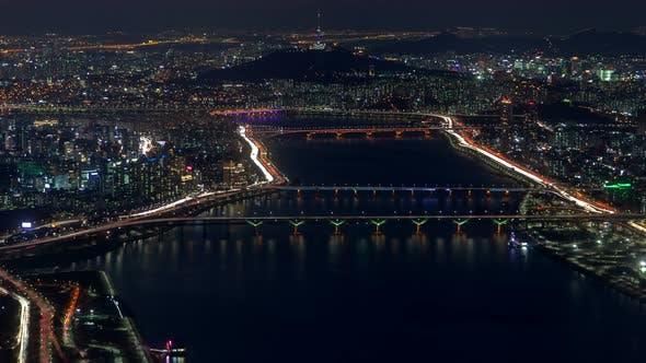 Thumbnail for Timelapse Modern Seoul Overpass Roads on Wide River Banks