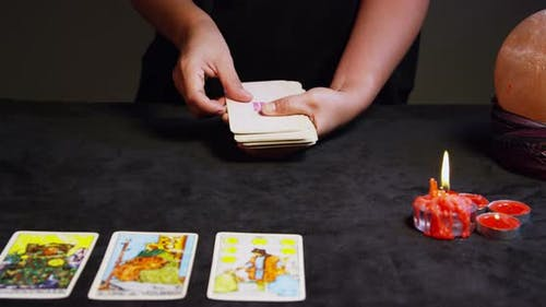Tarot Reader Hands Shuffling Tarot Cards