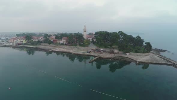 Thumbnail for Aerial view of St. Euphemia basilica on an island
