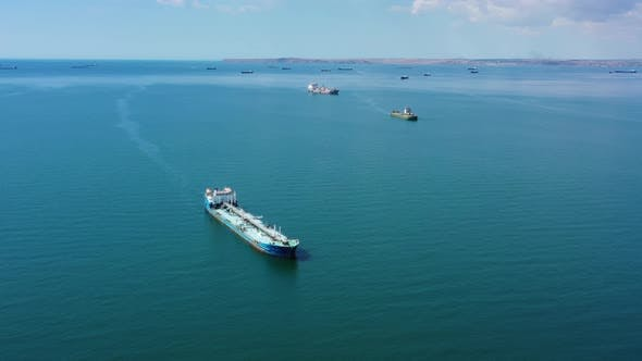 Thumbnail for Aerial View of Many Cargo Ships in Sea