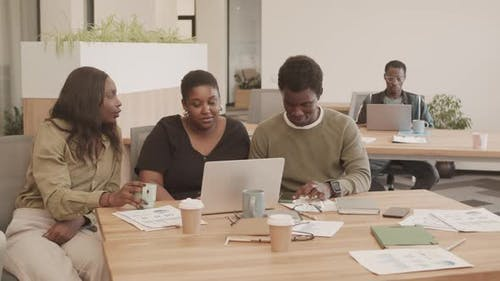 African-American People Working Together in Office