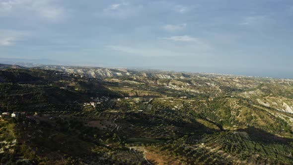 Aerial view of the Calabrian hills at sunset