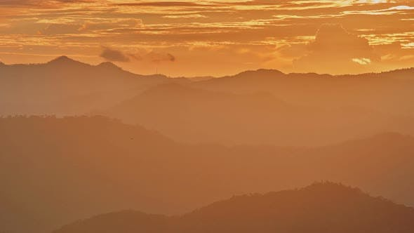 Thumbnail for Fog and Cloud Mountain Valley Sunset Landscape, Chiang Mai Thailand