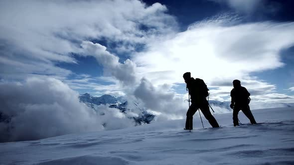 Thumbnail for Hikers Walking in Deep Snow Outdoors. Adventure Journey Expedition