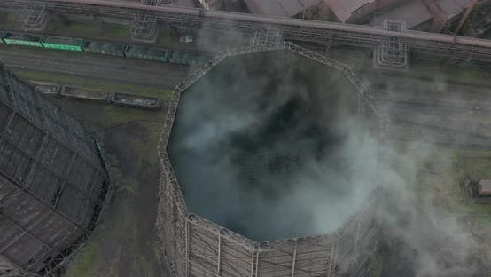 Thumbnail for Aerial. Smoke and Steam From Industrial Power Plant. Contamination, Pollution, Global Warming